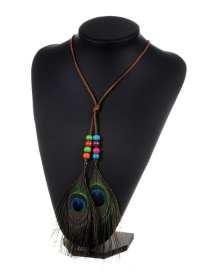 Fashion Coffee Feather&beads Decorated Color Matching Simple Necklace