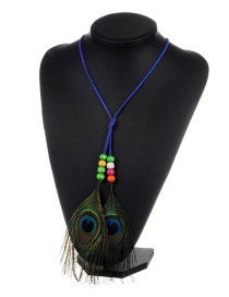 Fashion Sapphire Blue Feather&beads Decorated Color Matching Simple Necklace