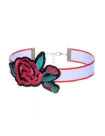 Trendy Plum Red Embroidery Flower Decorated Color Matching Simple Choker