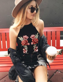 Fashion Black Color Matching Decorated Shirt