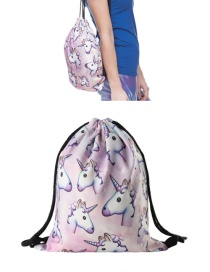 Fashion Multi-color Printing Unicorn Pattern Color Matching Simple Backpack