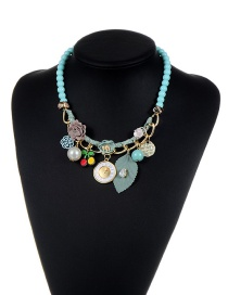 Fashion Blue Flower&beads Decorated Color Matching Simple Necklace