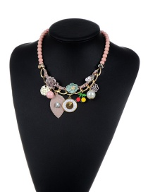 Fashion Pink Flower&beads Decorated Color Matching Simple Necklace