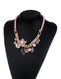 Fashion Pink Flower&beads&leaf Decorated Color Matching Simple Necklace