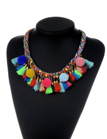 Fashion Multi-color Tassel Decorated Weave Design Color Matching Pom Necklace