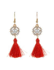 Bohemia Red Round Shape Decorated Simple Tassel Design Earrings
