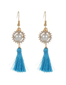 Bohemia Blue Round Shape Decorated Simple Tassel Design Earrings