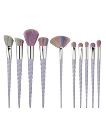 Trendy Purple+red Sector Shape Decorated Makeup Brush(4pcs)