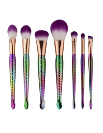 Fashion Multi-color Mermaid Shape Decorated Color Matching Cosmetic Brush (7 Pcs)