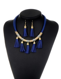 Fashion Sapphire Blue Tassel Decorated Multi-layer Design Pure Color Jewelry Set