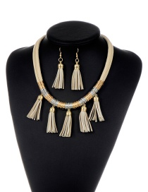 Fashion Khaki Tassel Decorated Multi-layer Design Pure Color Jewelry Set