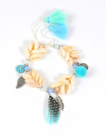 Trendy Blue Leaf&shell&feather Decorated Color Matching Pom Bracelet
