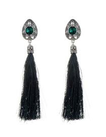 Fashion Green Diamond Decorated Tassel Design Pure Color Earrings