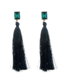 Fashion Green Tassel&diamond Decorated Pure Color Simple Earrings