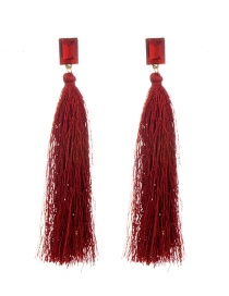 Fashion Red Tassel&diamond Decorated Pure Color Simple Earrings
