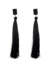 Fashion Black Tassel&diamond Decorated Pure Color Simple Earrings