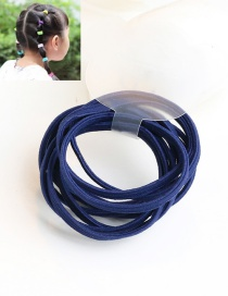 Cute Navy Pure Color Decorated Simple Round Hair Band (10pcs)