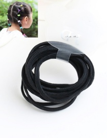 Cute Black Pure Color Decorated Simple Round Hair Band (10pcs)