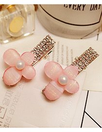 Fashion Pink Pearl&diamond Decorated Flower Shape Pure Color Hairpin
