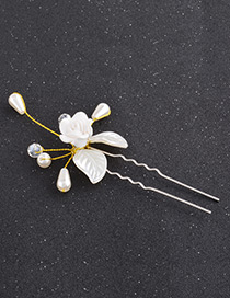 Fashion White Rose Shape Decorated Simple Hairpin