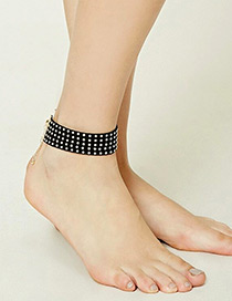 Vintage Gold Color Metal Rivet Decorated Anklet