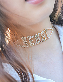 Vintage Gold Color Hollow Out Letter Decorated Choker