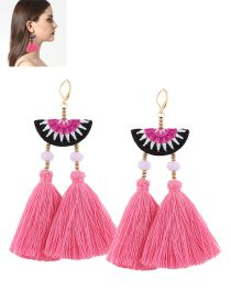 Bohemia Pink Tassel Decorated Simple Semicircle Design Simple Earrings