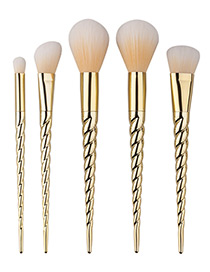 Fashion Gold Color Unicorn Design Pure Color Decorated Simple Cosmetic Brush (5pcs)