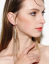 Trendy Gold Color Tassel Pendant Decorated Pure Color Earrings