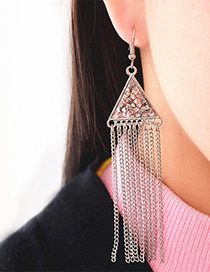 Fashion Silver Color Long Tassel Pendant Decorated Simple Earrings