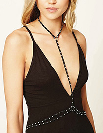 Sexy Silver Color Rivet Decorated Multi-layer Simple Body Chain