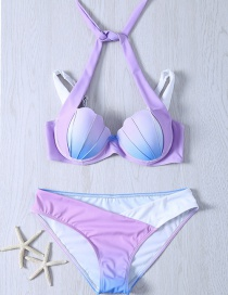 Lovely Purple Shell Shape Decorated Simple Color Matching Bikini