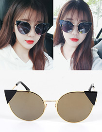 Fashion Champagne Cat's Eye Shape Decorated Simple Pure Color Sunglasses