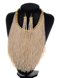 Bohemia Khaki Long Tassel Decorated Simple Pure Color Jewelry Sets