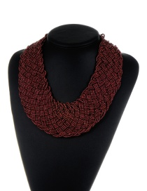 Bohemia Red Pure Color Decorated Simple Hand-woven Design Necklace