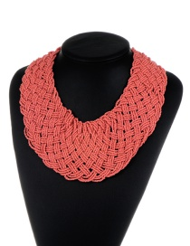 Bohemia Watermelon Red Pure Color Decorated Simple Hand-woven Design Necklace