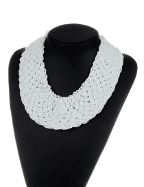 Bohemia White Pure Color Decorated Simple Hand-woven Design Necklace