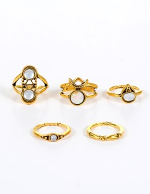 Vintage Gold Color Round Shape Decorated Simple Pure Color Rings(5pcs)