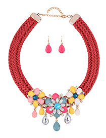Bohemia Multi-color Flower Shape Decorated Simple Hand-woven Jewelry Sets