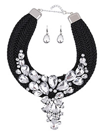 Luxury White Oval Shape Decorated Simple Hand-woven Jewelry Sets