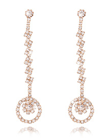 Fashion Gold Color Hollow Out Round Pendant Decorated Long Chain Earrings