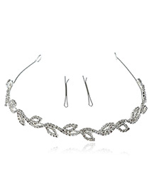 Elegant Silver Color Hollow Out Leaf Shape Decorated Simple Hair Clasp