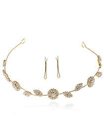 Elegant Gold Color Round Shape& Leaf Shape Decorated Simple Hair Clasp