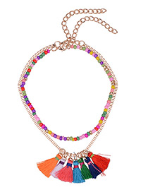 Fashion Multi-color Long Tassel Pendant Decorated Simple Necklace