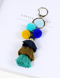 Lovely Multi-color Fuzzy Ball& Tassel Decorated Simple Color Matching Key Ring