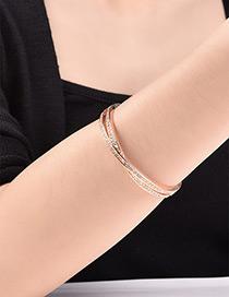 Fashion Rose Gold Round Shape Diamond Decorated Simple Pure Color Bracelet