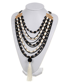 Exaggerate Black Long Tassel Decorated Simple Multilayer Necklace