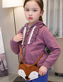 Lovely Brown Fox Decorated Color Matching Shoulder Bag