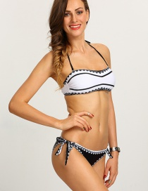 Fashion White Painted Design Simple Swimwear