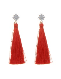 Bohemia Red Square Shape Diamond Decorated Simple Tassel Long Earrings